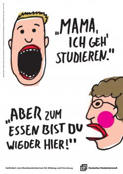 Zwei Cartoon-Gesichter mit Text